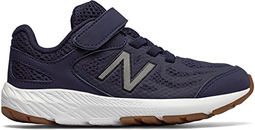 New Balance Boys' 519v1 Hook and Loop Running Shoe, Pigment/Black, 5.5 M US ()