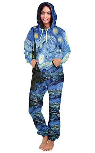 Prettyard Women Vincent Van Gogh Starry Night Long Sleeve Romper Hooded Jumpsuit - US(Women:16/XL = Men:L) IgnoreOurTag -