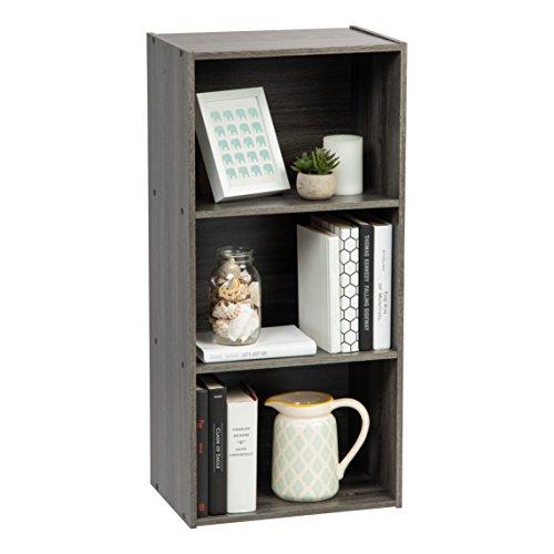IRIS USA, Inc. TSB-3 3-Tier Wood Storage Shelf, Gray (Bookcase Wood Grey)