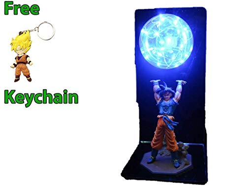 Geek Gear Dragon Ball Z 3D Goku Action Figure Super Spirit Bomb Genki DAMA Desk Led Night Light Table Lamp Free Keychain ()