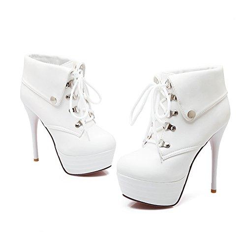 BalaMasa Womens Metal Ornament Bandage Stiletto Imitated Leather Boots White 45IslZH9Xb