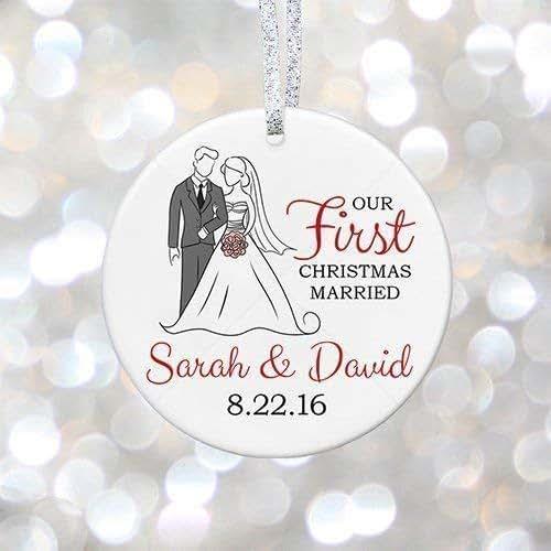 Christmas Ornament Wedding Gift: Amazon.com: Our First Christmas Married Wedding Ornament