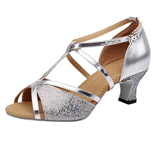 (Women Dance Shoes Girls Leapard Printed Peep Toe Latin Salsa Dance Shoes Ballroom Waltz Dance Shoes T - Strap Spike Heel Dancing Shoes for Women & Girls)