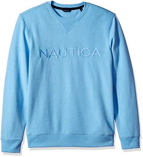 Nautica Men's Long Sleeve Crew Neck French Terry Sweatshirt, Alaskan Blue Medium ()