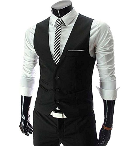 MARIR Men Vests Jacket Classic Style Slim Fit Business Waistcoat (Black, Medium) - Black Waistcoat