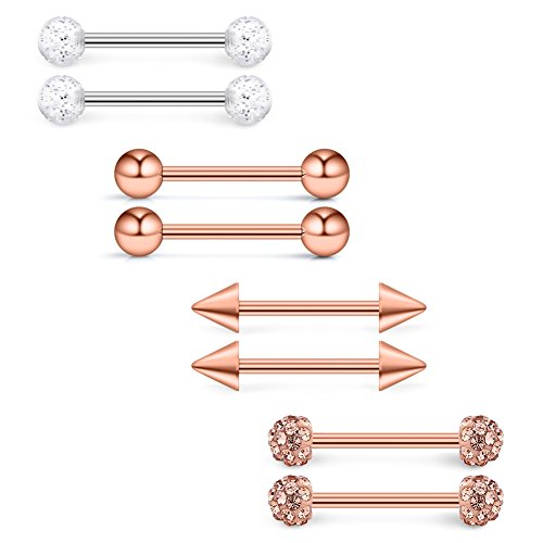 (Ruifan 14G 5/8Inch Shiny Gilitter Crystal Ferido Ball Spike Nipple Tongue Shield Ring Barbell Body Piercing Jewelry Retainer 4prs(8pcs) - Rose Gold)