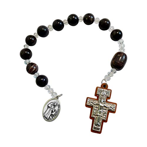 (Saint Francis of Assisi Chaplet or Pocket Rosary Snowflake Jasper Round Beads Wood San Damiano Crucifix with Inlaid Silver Plated Christ Silver Plated Medal and Blessed Prayer Card)