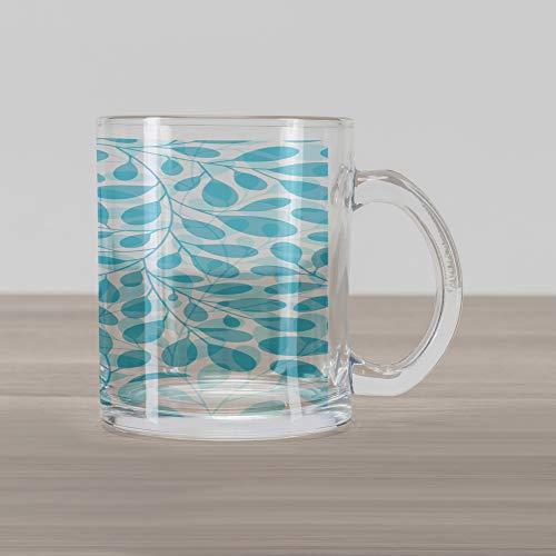 Ambesonne Leaves Glass Mug, Monochromatic Lush Foliage Feminine Nature Pattern Spring Season Illustration, Printed Clear Glass Coffee Mug Cup for Beverages Water Tea Drinks, Aqua and White ()