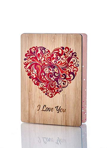 Wooden I Love You Cards; Perfect Gift For Any Occasion; Happy Anniversary Card; Mothers Day Card; Fathers Day Card; Birthday Wood Greeting Card For Wife, Husband, Girlfriend, Boyfriend, Him or Her