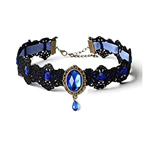 Steampunk Glam Blue Gem Lace Choker Necklace – Gothic Goth – False Collar – Steam Punk – s26