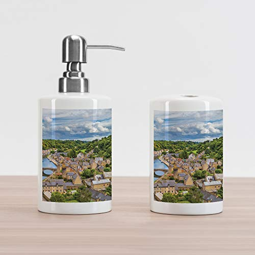 Price comparison product image Lunarable Wanderlust Soap Dispenser and Toothbrush Holder Set,  Clouds Over Ancient Town Dinan Rance River Northwestern France Landscape,  Decorative Ceramic Bathroom Accessory Set,  Green Sand Brown