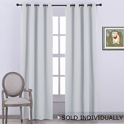 NICETOWN Room Darkening Curtain Window Panel   (Greyish White/Silver Grey  Color) Solid Thermal Insulated Drape/Drapery For Bedroom,52x95 Inch, One  Pack