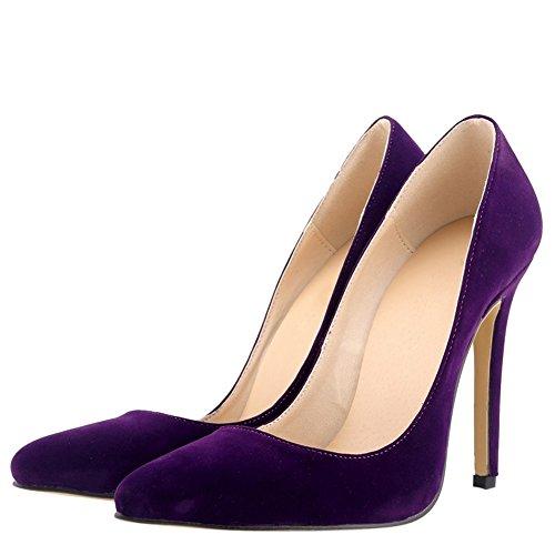 OCHENTA Mujer en muchos colores zapatos de tacon de terciopelo de un banquete de boda Morado