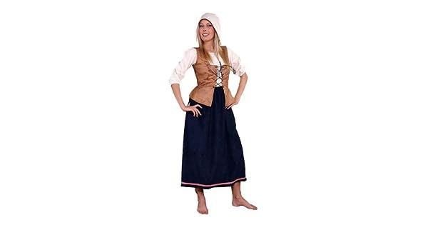 Disfraz de sirvienta de la Edad media para mujer talla L granjera ...