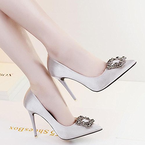 Strass Pompes Ol Plain Gris Chaussures Night Stilettos Sexy Court Mode Astuces Boucle Mariage Banquet Heels High De Club Ladies pwSFRn0Oqq