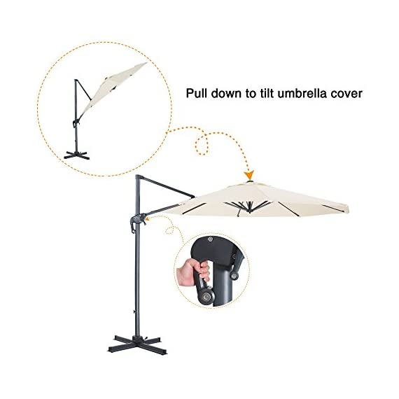 FurniTure Hanging Umbrella 10' Patio Umbrella Outdoor Cantilever Umbrella 360 Rotation Garden Umbrella 8 Steels Ribs Polyester Cross Base, Milk White - NEW RELEASE: Hanging umbrella with four lock position on the pole for you to easily adjust your umbrella angle. NEW DESIGN: Cantilever umbrella with 360 degree rotation by step on the foot pedal. DURABLE FRAME: 10 ft patio umbrella is built with stainless steel against rust, corrosion, chipping and peeling. - shades-parasols, patio-furniture, patio - 41Vr2ZMJOnL. SS570  -