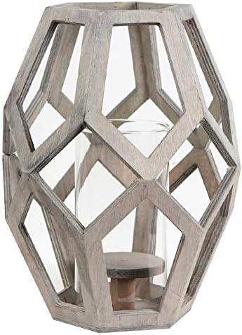 PeiQiH ヴィンテージ 木製 キャンドル ホルダー, 3d 幾何学 燭台ホルダー ガラス カバー 合う ピラーキャンドル の 結婚 ダイニングテーブル パーティ 装飾-a 23x23x30cm