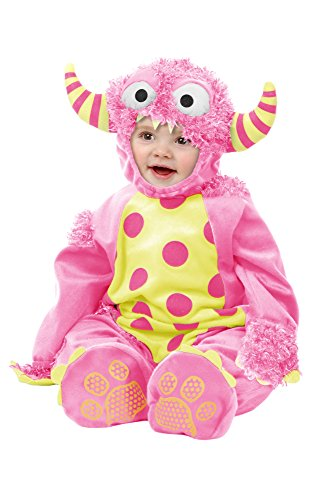 Charades Unisex-Adult's Mini Monster Costume Jumpsuit, Headpiece, and Footsies, Pink, Infant]()