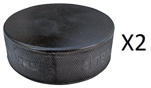 A&R Ice Hockey Puck Black Practice Hard Vulcanized Rubber Lightweight (2-Pack) (Ice Hockey Puck Weight)