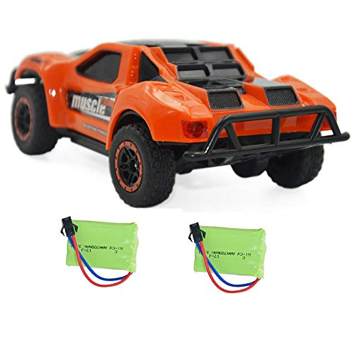Blomiky 4WD 9MPH High Speed Racing RC Car 1/43 Scale 2.4GHz 4WD Electric Mini Remote Control Truck Vehicle D143 Orange (1 5 Scale Rc Short Course Truck)