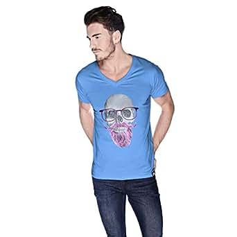 Creo Pink Beard Skull Simon T-Shirt For Men - M, Blue