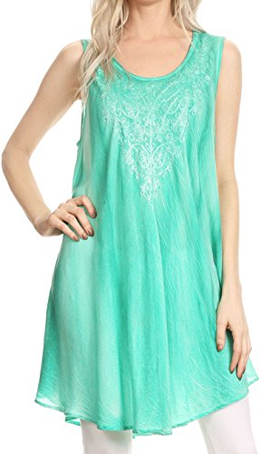 Sakkas 17608NEW - Lana Ombre Tie Dye Embroidered Tank Style Long Summer Top | Cover Up - Sea Green - - Sea Embroidered Green Top