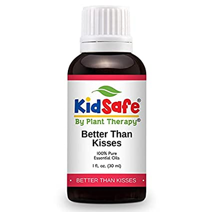 Plant Therapy KidSafe Better Than Kisses Synergy Essential Oil Blend. 100% Pure, Undiluted, Therapeutic Grade. Blend of: Lavender, Marjoram, Cypress, Tea Tree and Blue Tansy. 10 ml (1/3 oz). Plant Therapy Inc