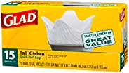 Glad 13 Gal. Quick Tie Tall Kitchen Bags 15 ct