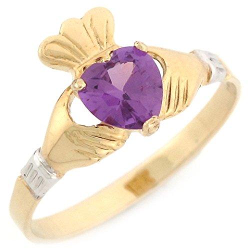 Jewelry Liquidation 10k 2 Tone Gold Claddagh Simulated Alexandriete June Birthstone Ring (Gold Ring 10k Alexandrite)