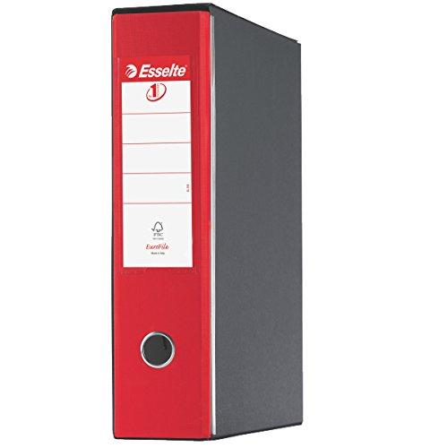 Rosso Vivida 390753920 Cartone rivestito in plastica Formato Commerciale Dorso 8 cm Esselte Raccoglitore Eurofile con meccanismo a leva e con custodia