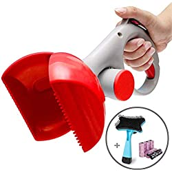 Pooper Scooper - Portable Pet Waste Scoop - Ndoor Or Outdoor Waste Pickerpet Poop Clamp( Free Pet Brush 6 Roll Poop Bags )