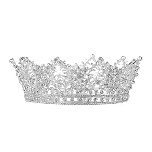 Frcolor Vintage Crystal Rhinestone Bridal Wedding Crown Bling Tiara with Side Comb Silver
