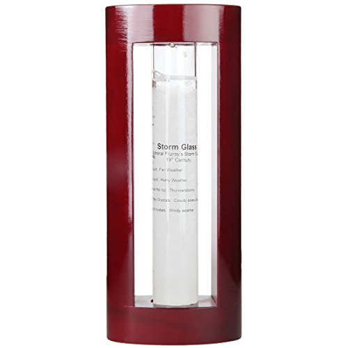Lily's Home Admiral FitzRoy's Storm Glass Weather Prediction Station, Predicts Weather Changes and Patterns, Elegant Gift and Desktop Piece, Includes Cherry Finished Wood Frame (7