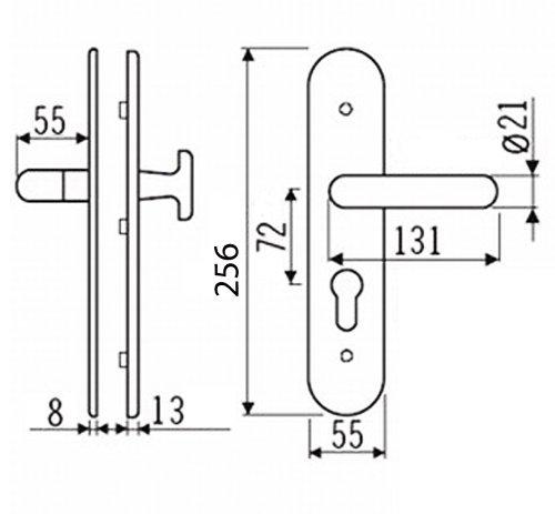Edelstahl Wohnungst/ür Schutzbeschlag 1595 CN-Form WE-72mm mit ZA T/ürdr/ücker