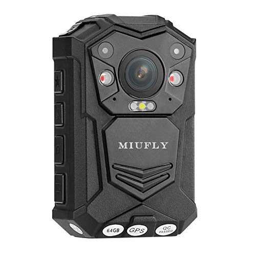 MIUFLY 1296P HD Police Body Camera for Law Enforcement with 2 Inch Display, Night Vision, Built in 64G Memory and GPS