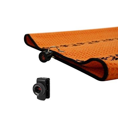 Frogger Golf Microfiber Waffle TRAX Towel with Bag Latch-It, Orange/Black, 20
