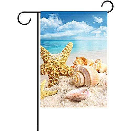 Johnnie Starfish Seashells On The Beach Polyester Garden Flag Banner 12 x 18 Inch, Star Stripe American Patriotic Decorative Flag for Party Wedding Home Outdoor Garden Decor