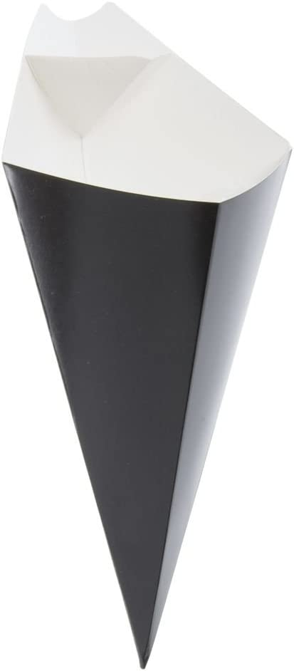 Eco Friendly Paper Cones With Build In Sauce Cup   Finger Food Fries And Dip Sauce Snack Holder - 25 pack - (8oz, Black)