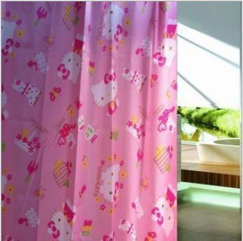 Melife® Cute Pink Hello Kitty Printing Shower Curtain Bath Curtain