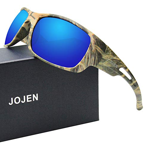 (JOJEN Polarized Sports Sunglasses for Men Women Running Cycling Fishing Hunting Golf Tr90 Ultralight Unbreakable Frame TAC Lens JE008(Green Camo Frame Blue Revo Lens) )