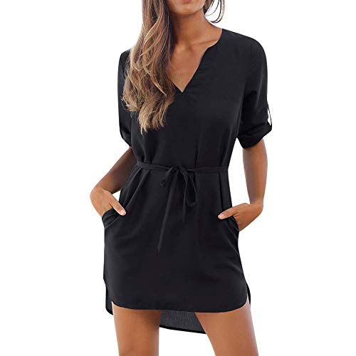 Short Sleeve t Shirt Dress for Women,QueenMM Causal Breathable V-Neck Chiffon Summer Dress Solid Lace up Party Beach Dress Black