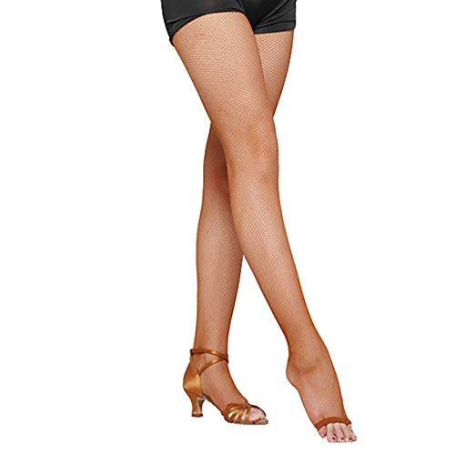 Pitping Latin Dance Pantyhose Stockings Socks Open Toe Fishnet Toeless Tights ,Honey,One Size