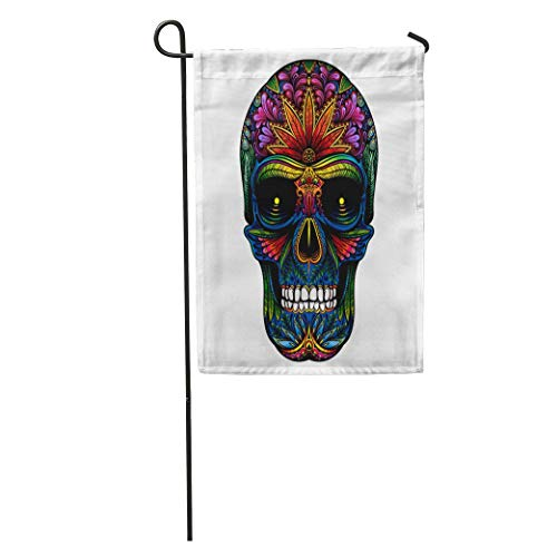 Nfuquyamluggage Garden Flag Candy Color Tattoo Skull on Halloween Sugar Abstract Black Celebration Home Yard House Decor Barnner Outdoor Stand 12x18 Inches Flag ()