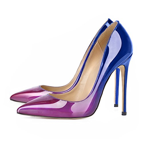 Onlymaker Damenschuhe High Heels Spitze Toe Pumps mit Animal Print Wildleder Leopard Blau und Lila-12cm