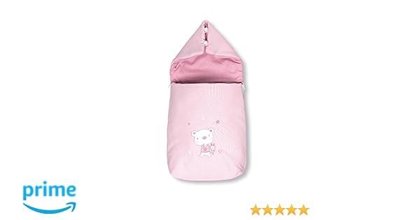 Pirulos 37013014 - Saco recién nacido, diseño osito star, algodón, 38 x 75 x 5 cm, color blanco y rosa: Amazon.es: Bebé