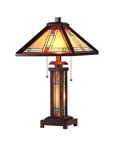 Chloe Lighting CH33426WM15-DT3 Aaron Tiffany-Style Mission 3-Light Double Lit Wooden Table Lamp, 25.6 x 15 x 15