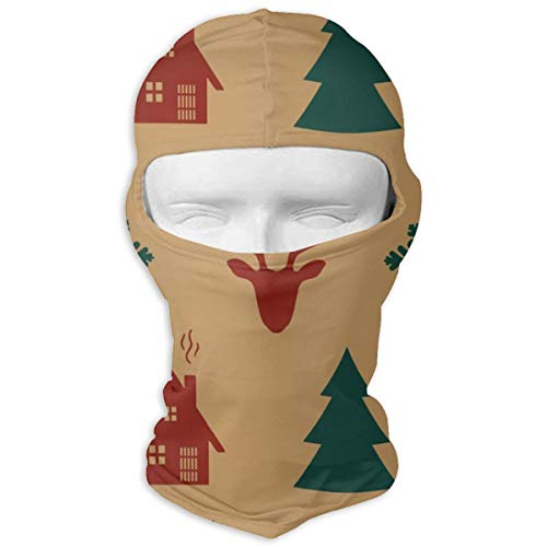 Christmas Seamless Pattern Vintage Sports Balaclava Travel Motocycling Full Face Mask Hat Keep Warm Sun Protection White (Vintage Full Face Motorcycle Helmets For Sale)
