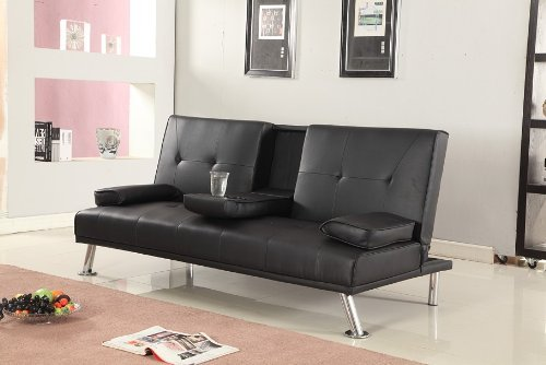 Cinema Style Futon Sofabed With Drinks Table Sofa Bed Faux Leather in Black by Comfy Living