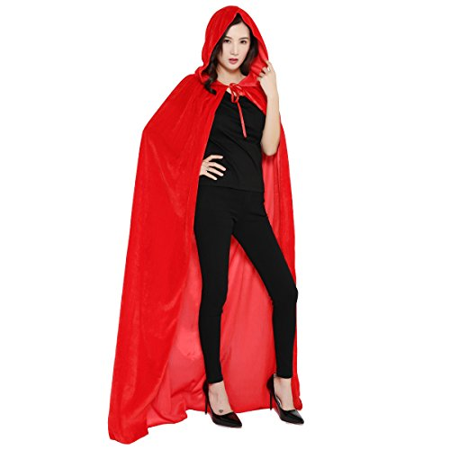 (Cloak with Hood Costume Hooded Cape Crushed Velvet for Men Women (43-66inches) Red)