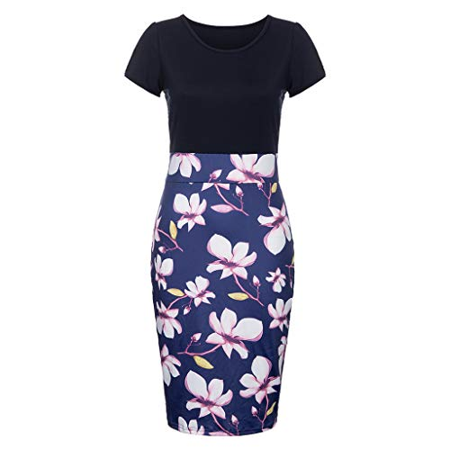 iLOOSKR Sexy Dress for Women Fashion O-Neck Short Sleeve Foral Print Patchwork Bodycon Dress ()